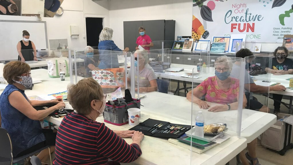 group of women in adult art class