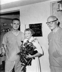 black and white photo with two doctors and ee bishop